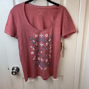 NWT Lucky Brand Rose Floral Print T-Shirt. Small